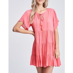 Tiered Dress W/ Neck Tie