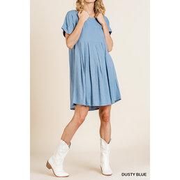 Pintuck Babydoll Dress