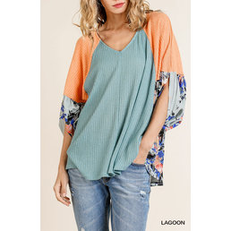 Waffle Knit Colorblock Top