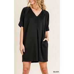 V Neck Dress W/ Pockets