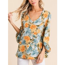 Floral Bubble Sleeve Blouse