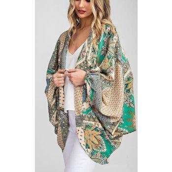 Print Puff Sleeve Kimono