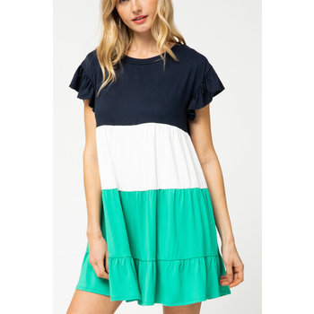 Colorblock Ruffle Dress
