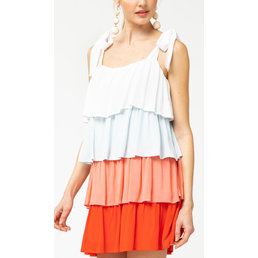 Colorblock Tiered Dress