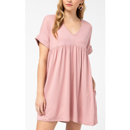 Rolled Sleeve Babydoll Dress