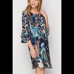 TL Ruffle Sleeve Print Dress