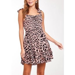 Smocked Leopard Print Dress