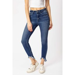 High Rise Frayed Ankle Jeans