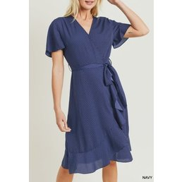 Polkadot Surplice Dress