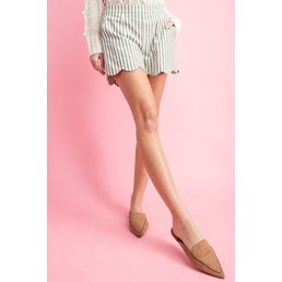 Pinstripe Scallop Shorts
