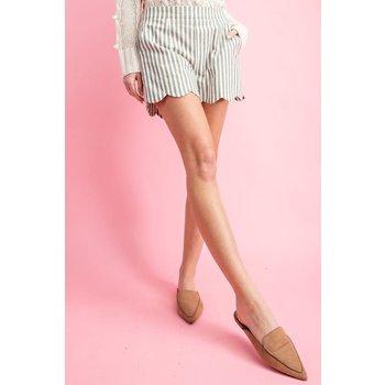 Pinstripe Scallop Shorts