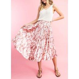 Marble Pleated Midi Skirt