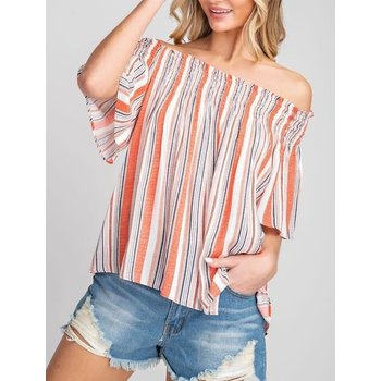 Off The Shouler Striped Top