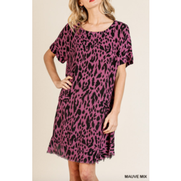 Animal Print Frayed Hem Dress