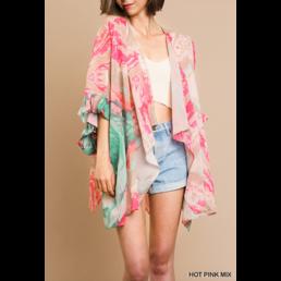 Colorful Print Kimono