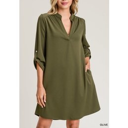 3/4 Button Tab Roll Up Sleeve Split V Neck Dress