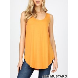 Sleeveless Round Neck Top W/ Round Hem