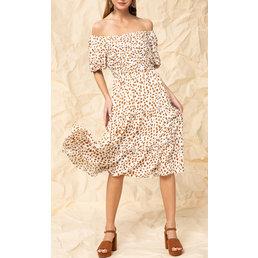 Dotted Print Midi Dress