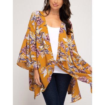 Tie Front Floral Kimono
