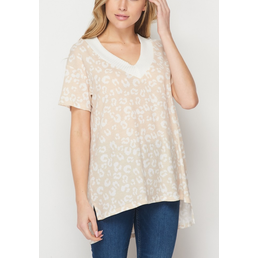TL Leopard Top W/ Contrast V Neck Band