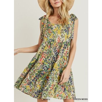 Watercolor Floral Tiered Dress
