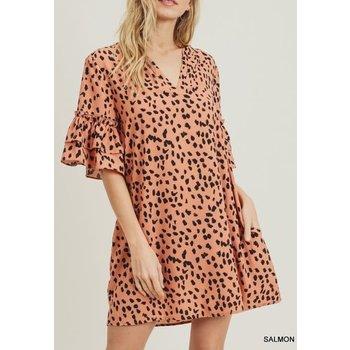 Geo Print Ruffle Sleeve Dress