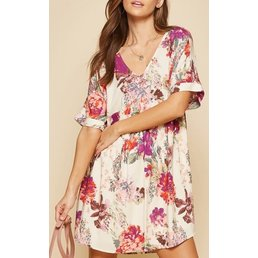 Bold Floral Babydoll Dress