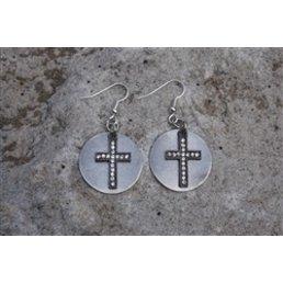 Rhinestone Cross On Metal Disc