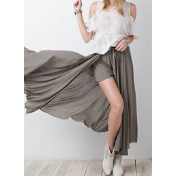 Fit & Flare Maxi Skirt W/ Shorts Underneath