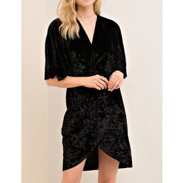 Velvet Wrap Knot Dress W/ Butterfly Sleeves