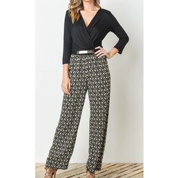 3/4 Sleeve Relaxed Fit Wide Leg Jumpsuit W/ Wrapped Front Neck & Banded Waist