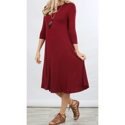 Solid 3/4 Midi Sleeve Dress