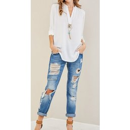 Solid V Neck Top W/ Permanent Button Closure On Sleeves