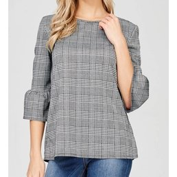 3/4 Bell Sleeve Check Print Top