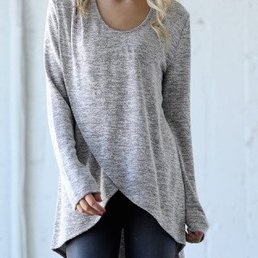 Long Sleeve Layered Top W/ Neck Cut Out