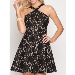 Halter Fit & Flare  Lace Dress W/ Contrast Lining