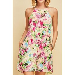 Floral Print Halter Dress W/ Side Pockets