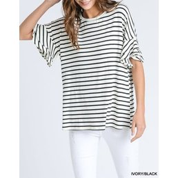 Striped Top W/ Ruffle Half Sleeves