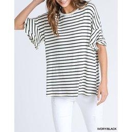 Striped Top W/ Ruffle Half Sleeves