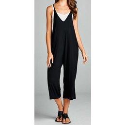 Sleeveless V Neck Jumpsuit W/ Side Pockets