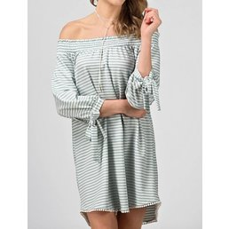 Stripe Off The Shoulder Dress W/ Tie Details On Sleeves