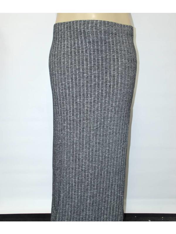 Ambiance Plus Size Grey Knit Maxi Skirt
