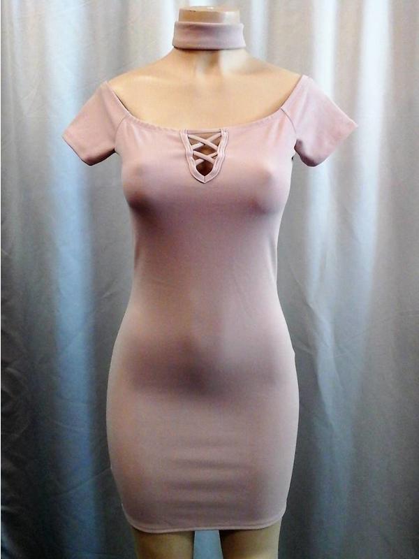 Ambiance Off shoulder Choker Dress