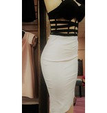 Glow Passion Style Cream Pencil Skirt