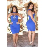 Leyvas Royal Blue Dress with Gold Bottons
