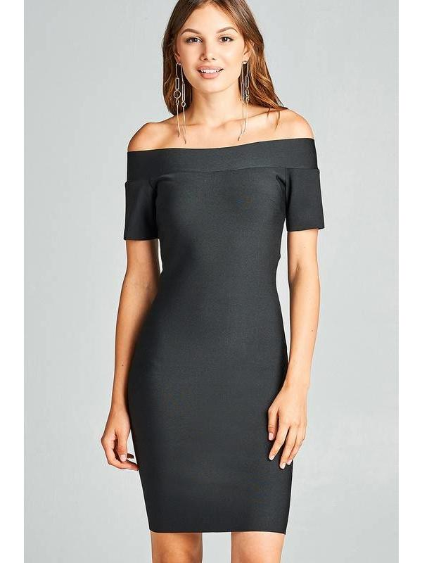 Off The Shoulder Bandage Midi Dress Black
