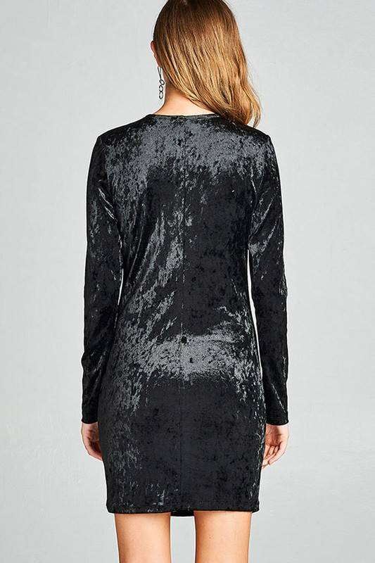Long Sleeve Lace-up Ice Velvet Dress