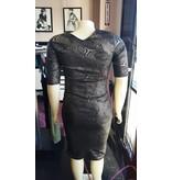 Kafe Plus Size Black & Gold Dress