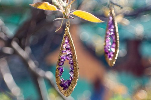 Teardrop Wrapped Purple Quartz Hanging Earrings