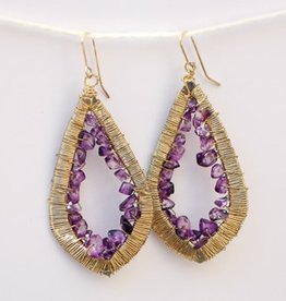 Teardrop Wrapped Purple Quartz Hanging Earrings